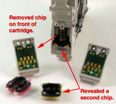 Epson double chip cartridge makes refilling almost impossible.