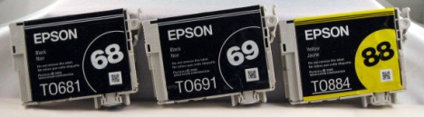 The T068, T069, and T088 Epson series inkjet cartridges compared.