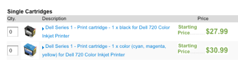 Color & Black cartridge for your Dell 720 $59.00