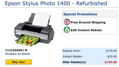 In stock now, the Epson Stylus Photo 1400.
