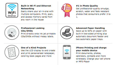 Highlighted features of the Epson Artisan 800 Inkjet Printer.