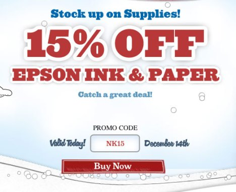 Fifteen Percent Off 15% Off Epson Consumer Ink Or Paper Purchases