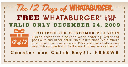 Free Hamburger Coupon At Whataburger
