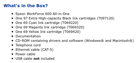 Included in the box - The Epson Workforce 600 inkjet printer.
