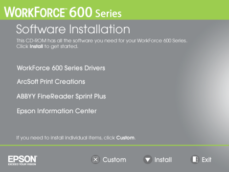 Software Install Workforce 600 Epson Inkjet Printer