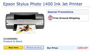 New Epson Stylus Photo 1400 Inkjet Printer