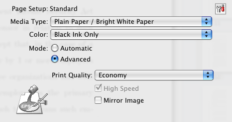 Print settings for economy, black only printing for the Workforce 600 series inkjet printer.