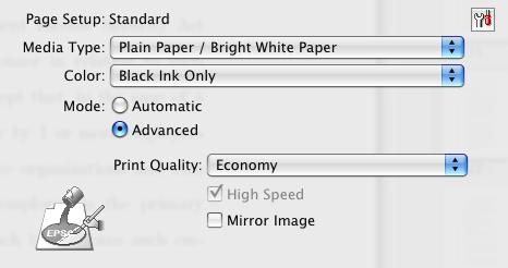 Print settings for economy, black only printing for the Workforce 600 series inkjet printer.