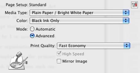 Fast economy printer setting for the Epson Workforce 600 inkjet printer speed test.