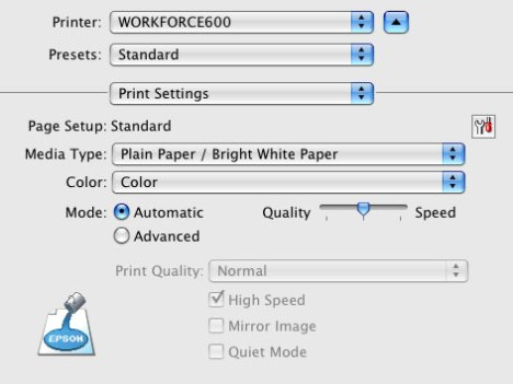 Standard out of the box print settings for the Epson Workforce 600 inkjet printer speed test.