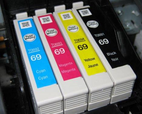 T069 Series Ink Cartridges Installed In The Workforce 500 Inkjet Printer