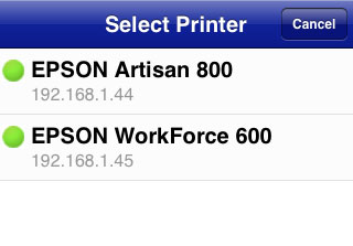 Workforce 600 shows up in the Epson iPrint app for iPhone after wireless set-up.