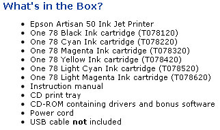 Epson Artisan 50 inbox materials included with a new printer.