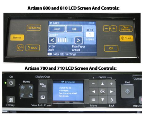 Epson Artisan 700 and 710 compared with the Artisan 800 and 810 series.