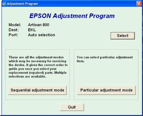 Epson Adjustment Program For Artisan 800. Waste ink pad reset issue.