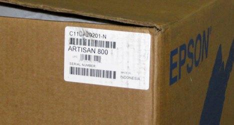 Epson Artisan 800 Refurbished Inkjet Printer Box Sticker.