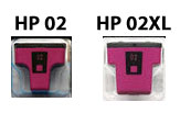 HP 02 inkjet cartridge compared with the HP 02XL (more ink) cartridge