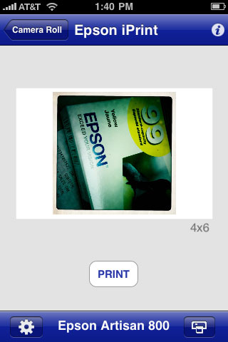 iPrint image re-sizing complete, now simply hit print and the Epson iPrint app will send the job to the printer.