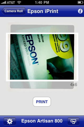 The Epson iPrint wireless photo printing on your iPhone.  Let's you resize the photos to fill the page, or make it smaller.