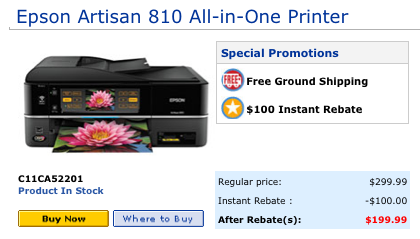 Epson Artisan 810 printer price from the Epson store on 1-13-10.