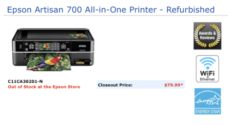 Epson Refurbished Artisan 700 Inkjet Printer From The Epson Store