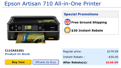 Epson Artisan 710 inkjet printer all in one, pricing from the Epson store at Epson.com as of 1-13-10