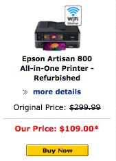 Artisan 800 Epson refurb, refurbished inkjet printer deal.