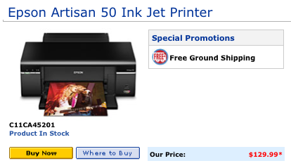 Epson Artisan 50 Inkjet Printer Price From Epson Direct 1-13-10.
