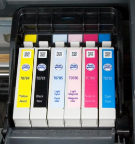 Epson T078 And T077 Series Inkjet Cartridges Installed In Print Head.