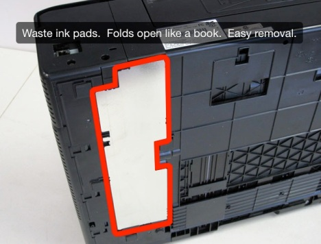 View of bottom of the Artisan 700 inkjet printer. Waste ink pad is highlighted.