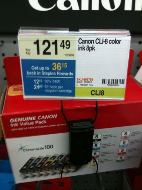 Printer ink is so expensive - Canon CLI-8 color cartridges spotted at the local Staples.