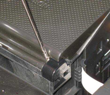 Epson Stylus Photo RX595 inkjet printer cartridge cover removal.