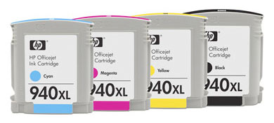 Hewlett Packard 940xl, 940 xl, 940 inkjet printer cartridges, large, jumbo inks