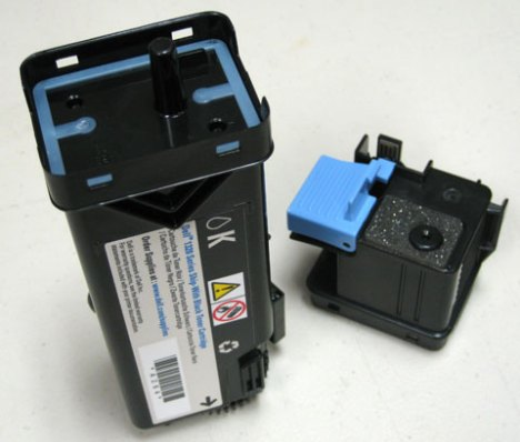 Dell 1320c Laser Toner with lid removed for refilling.