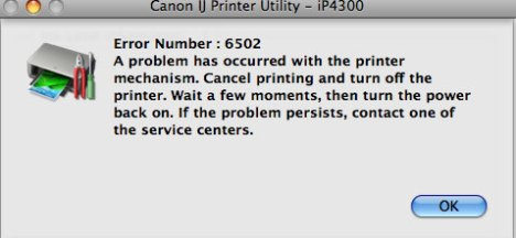 Canon printer error number 6502 means close the lid!