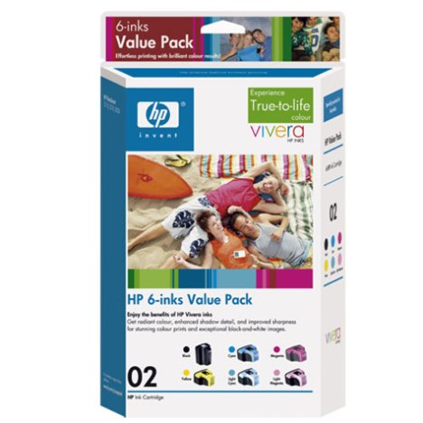 HP 02 Series Retail Ink Cartridge Package