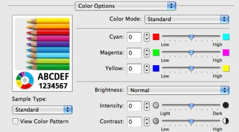 Custom color adjustments can be set in the printer driver (Mac OS X)