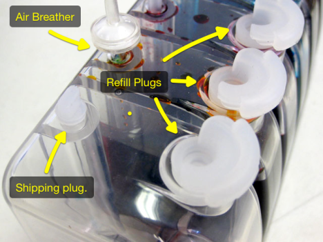 Types of plugs on the outside ink tank for the Canon Pixma iP4700 CISS and iP4600 CISS