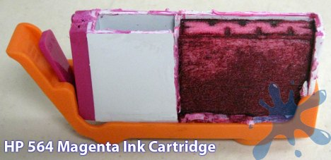 Hewlett Packard HP 564 Series Inkjet printer cartridge cut open to reveal internal structure