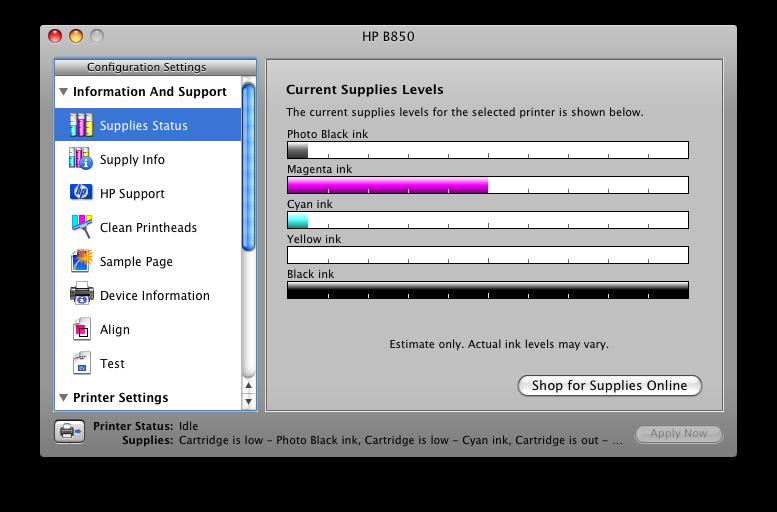 HP 564 564XL XL Ink Cartridge Print Monitor Message Center Hewlett Packard B8550 Inkjet Printer