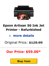 Epson Artisan 50 refurbished inkjet printer from the Epson.com website.
