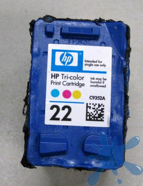 HP Hewlett Packard 22 tri-color color ink cartridge with lid off removed c9352a sponge