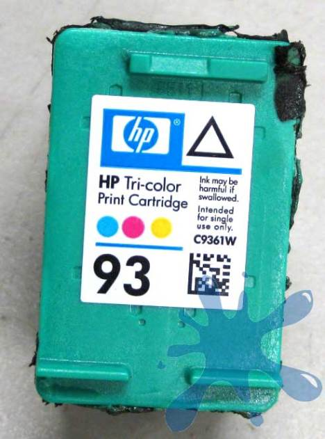 HP hewlett packard 93 ink cartridge with lid on, tri-color, color cartridge.