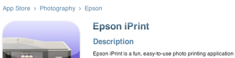 Epson iPrint v1.2.1 application update available for Epson wireless inkjet printer, and iPhone owners
