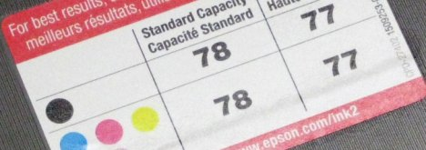 Epson T078 T077 Cartridge Numbers Printed On Inside Of Epson Artisan 50 Inkjet Printer