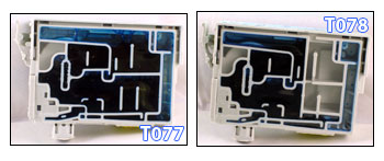 The T078 and T077 (high capacity) ink cartridges cracked open and compared - which one has the most ink, and by how much?