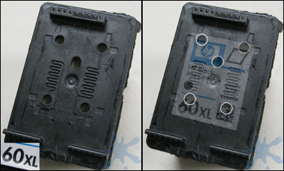 No need to drill any holes in the HP 60, 60XL, XL ink cartridge - they are already there.