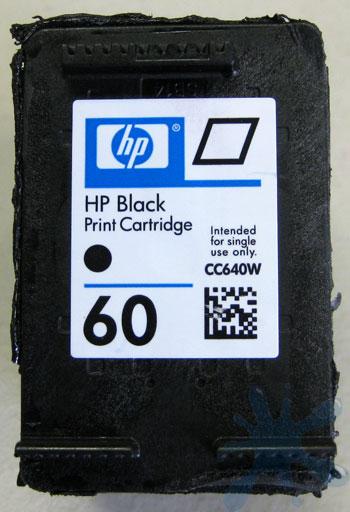 Close-up of the HP 60 black ink cartridge (hewlett packard)