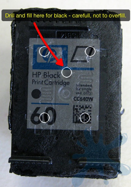 HP 60 ink cartridge refill holes, drill baby drill right here in the middle of the HP 60 black ink cartridge.