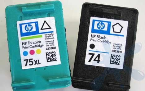 HP 74 black and HP 75XL tri-color ink cartridges compared.